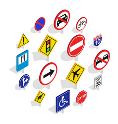 road sign icons set isometric 3d style vector image