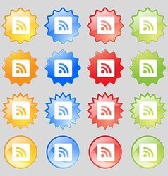 RSS feed icon sign Set from fourteen multi-colored vector