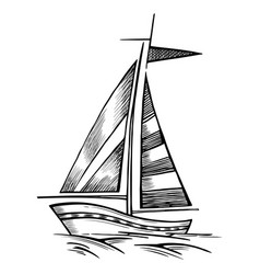 sailboat sketch isolated vector image