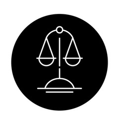 scales of truth black icon sign on vector image