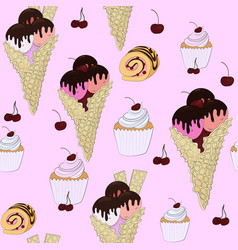 seamless pattern of sweet cake ice cream and vector image