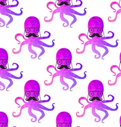 seamless pattern with octopus Colorful mosaic vector image