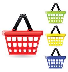 Set coloured baskets vector