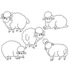 set cute cartoon sheep vector image