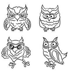 Set four amusing owls outlines vector