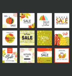 set of artistic creative autumn sale cards hand vector image