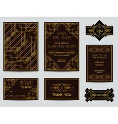 set wedding cards - art deco vintage style vector image