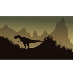 Silhouette of allosaurus in park vector image