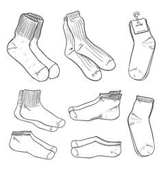 sketch set different socks vector image