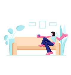 Smiling girl sitting on cozy sofa drinking coffee vector