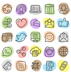 social network trendy icons set vector image