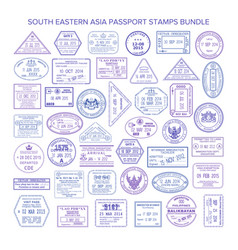 South eastern asia travel visa stamps set vector