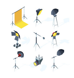 studio equipment isometric photo or tv production vector image