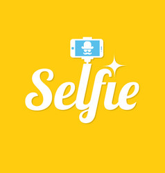 taking selfie photo selfie stick design concept vector image