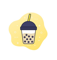 tapioca drink bubble tea icon vector image