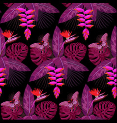 Tropical bouquet seamless pattern vector