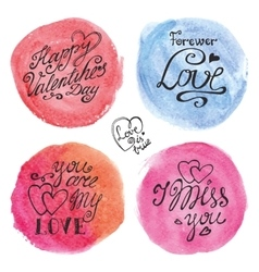 Valentines day lettering backgroundsWatercolor vector image
