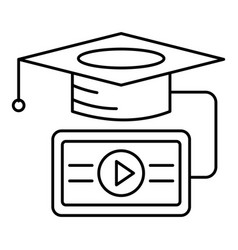 video graduation icon outline style vector image