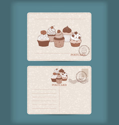 vintage postcard with hand drawn cupcake vector image