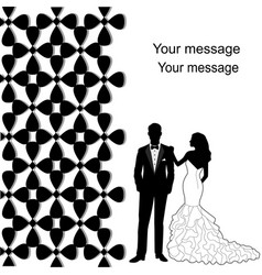wedding card with newlyweds vector image