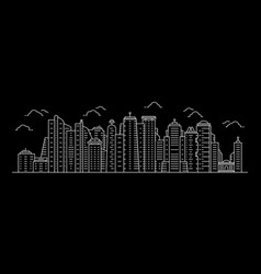 white cityscape with thin line skyscrapers vector image