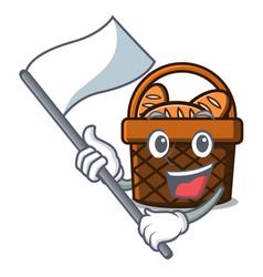with flag bread basket mascot cartoon vector image