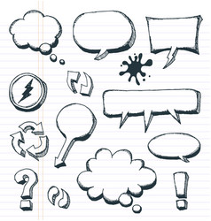 arrows speech bubbles and doodle elements set vector image