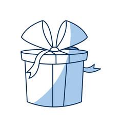 christmas gift box wrapped ribbon bow vector image