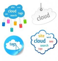 cloud tag icon vector image vector image