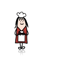 Cook woman with cup of coffee sketch vector image