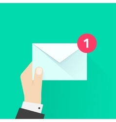 Postman hand with letter envelope email message vector