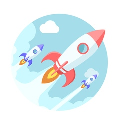Rockets in the sky Modern flat style vector image