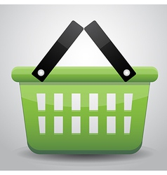 Green basket shopping vector image vector image