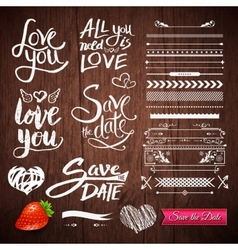 Love Texts Borders Symbols on Wooden Background vector image vector image