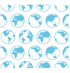 blue globe earth map background pattern vector image