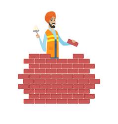 Hindu bricklayer working with spatula and brick vector