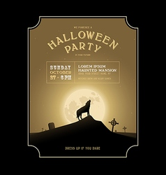 Vintage Halloween invitation with howling werewolf vector image