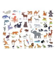 big set of world animal species cartoon vector image