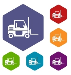 Forklift icons set vector image vector image