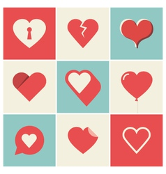 heart icons set two vector image