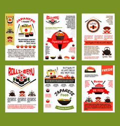 japanese food and sushi menu banner template set vector image
