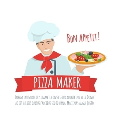 Pizza maker label vector image