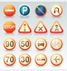 road signs glossy icons set vector image