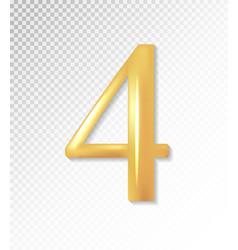 3d matt golden number collection - four 4 vector image