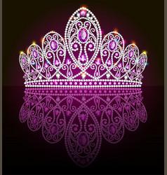 A crown diadem female with precious stones on a vector