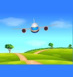 A passenger plane flying vector