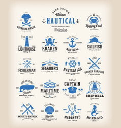 Abstract retro nautical labels collection vintage vector