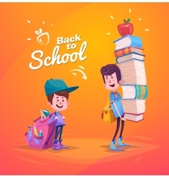 Back to school Two cute schoolchild with supplies vector