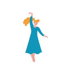 beautiful girl dancing wearing blue long dress vector image