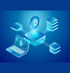 blockchain technology cryptocurrency coins mining vector image